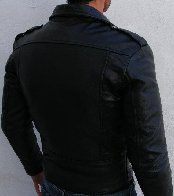MEN BLACK COLOR BIKER LEATHER JACKET MOTORBIKE LEATHER JACKET - Outerwear