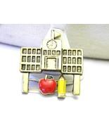 Adorable Sliding Pin Enamel Apple and Pencil School House Vintage Brooch... - $12.29