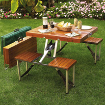 Outdoor 4 Seat Wood Portable Folding Picnic Table Set Bench Furniture Ca... - €121,27 EUR