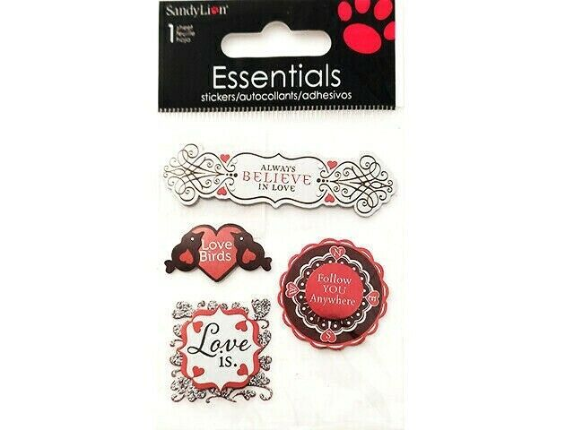 SandLion Essentials Foiled Dimensional Love Stickers, Set of 4 #SK8206