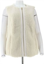 Denim & Co Zip Front Faux Sherpa Vest Winter White 1X NEW A270185 - $15.81