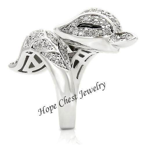 WOMEN'S SILVER TONE BIG ANIMAL FOX CZ COCKTAIL FASHION RING SIZE 9, 10