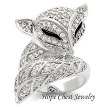 Women'S Silver Tone Big Animal Fox Cz Cocktail Fashion Ring Size 9, 10 - $23.62