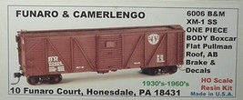Funaro & Camerlengo HO Boston & Maine  XM-1 SS Boxcar One Piece Body Kit 6006 image 1