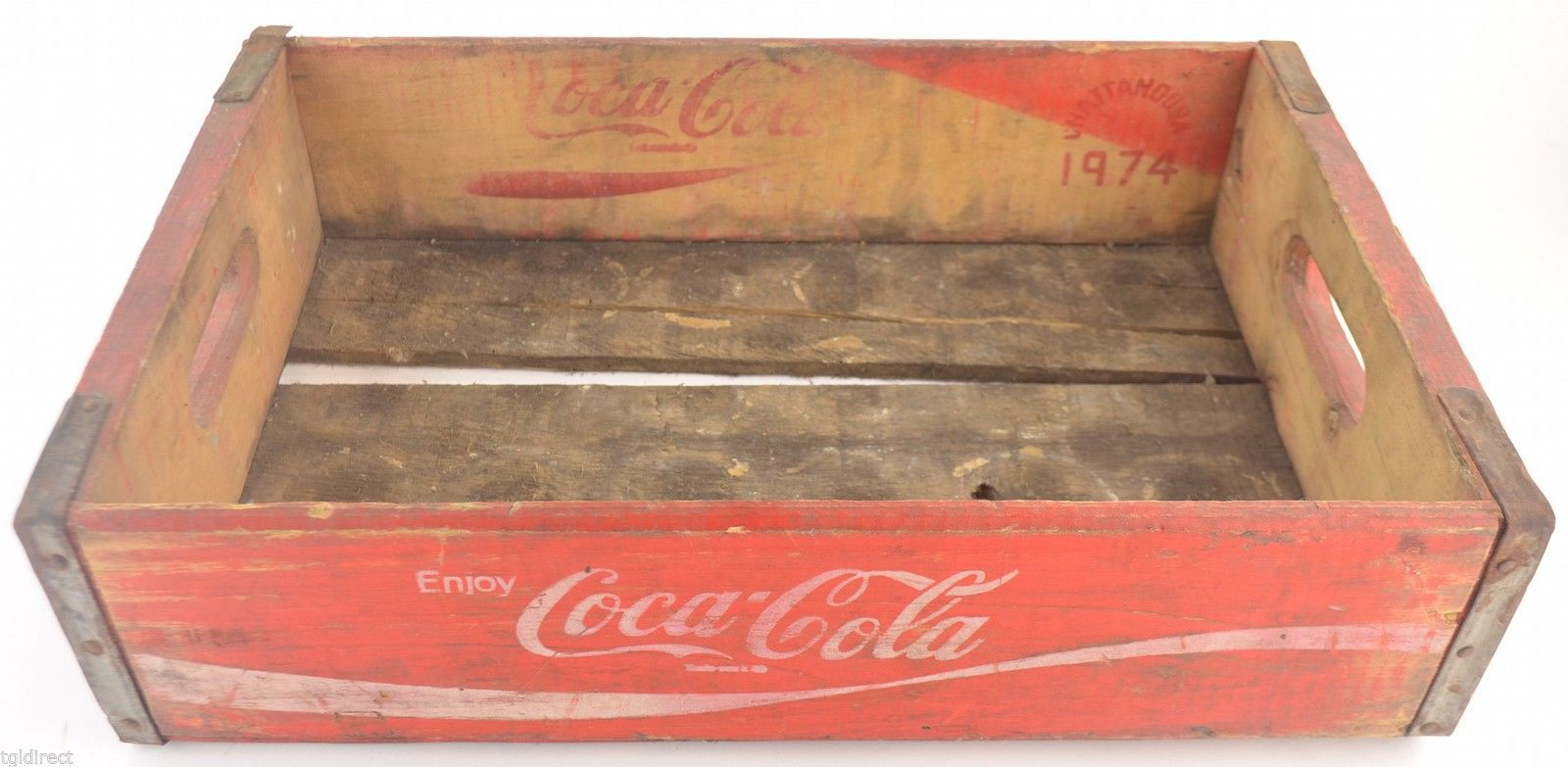 Coca Cola Crate Red Wooden Coke Carrier 1974 Chattanooga Collectible Soda Pop