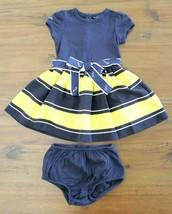 Ralph Lauren Girls 18 M Navy Yellow Striped Nautical Dress Anchor Belt  - $21.75