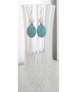 Oval Howlite Earring with Freshwater Pearl - $8.50