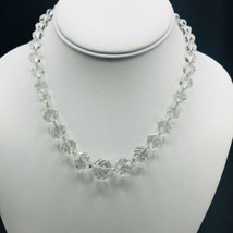 Vtg Faceted Crystal Graduated Bead Necklace Sterling Silver Safety Clasp - $26.14