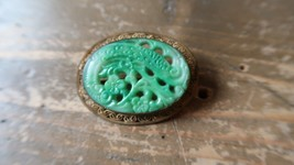 "Antique Victorian Gold Tone Filigree Faux Jade Brooch 1.5"" - $23.76"