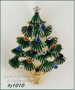 Signed Eisenberg Ice Christmas Tree Pin Green Boughs (#J1010) - $38.00