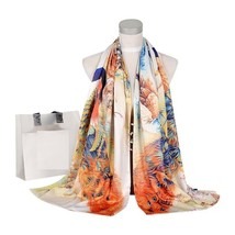Women Fashion Scarf Silk Peacock Winter Double Faces Buttons Shawl 175X50cm - €23,70 EUR