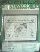 """Bucilla Vintage Stamped Embroidery Kit """"Signature Picture"""" Sampler - $9.99"""