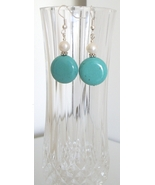 Coin Turquoise Earrings with Freshwater Pearl - $8.50