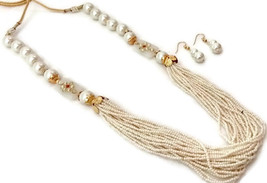 Indian Bollywood Gold Plated White Beads Kundan  Necklace  Earrings Jewelry Set - $13.65
