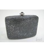 Kathrine Baumann Gunmetal Swarovski Gray Silver Miniaudiere Evening Bag NWT - $636.99