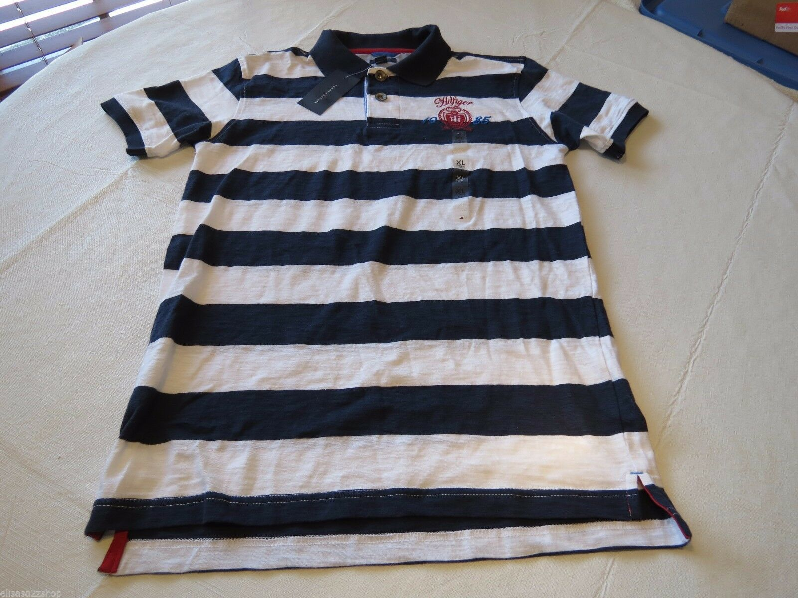 Boy's youth Tommy Hilfiger Polo shirt stripe XL 20 405 navy logo TH T881072 kids