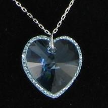 "Swarovski 1126270 Reverie Aquamarine Heart Pendant 17"" Silver-tone NWT $95 - $78.39"