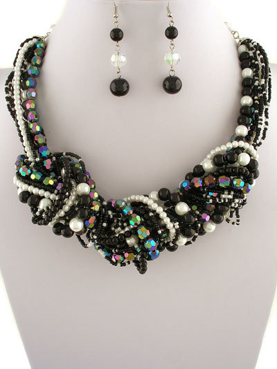 35.00   237494  black   white necklace and earrings set  16l   3 ext.  pearls  faceted crystals  acrylic beads  multi layered  lobster claw closure  lead   nickel safe