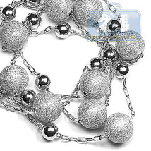 14K White Gold 17.64 ct Diamond Ball Mens Beaded Necklace 15 mm 35 Inches - $14,107.50