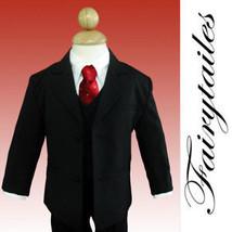 NWT 5 piece boy formal Wedding suit Black W/Red Tie  14 - $58.79