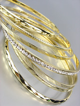 CHIC 7 PC Etched Gold Metal CZ Crystals Plus Size Wide Bangle Bracelets - €16,62 EUR