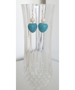 Heart Howlite Earrings with Freshwater Pearl - $8.50