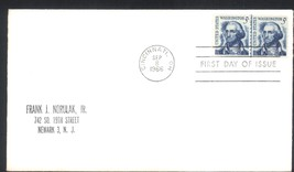 George Washington coil joint line pair first day cover Sep 8, 1966 - $3.99