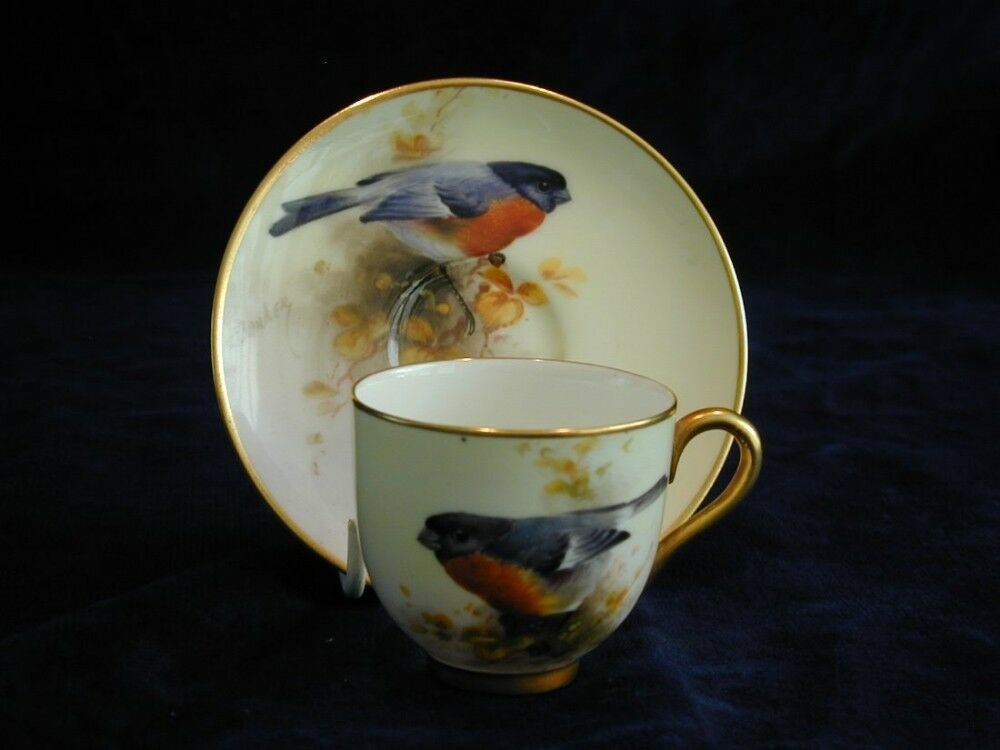Royal Worcester Demi Tasse Coffee Cup And Saucer Signed Barker