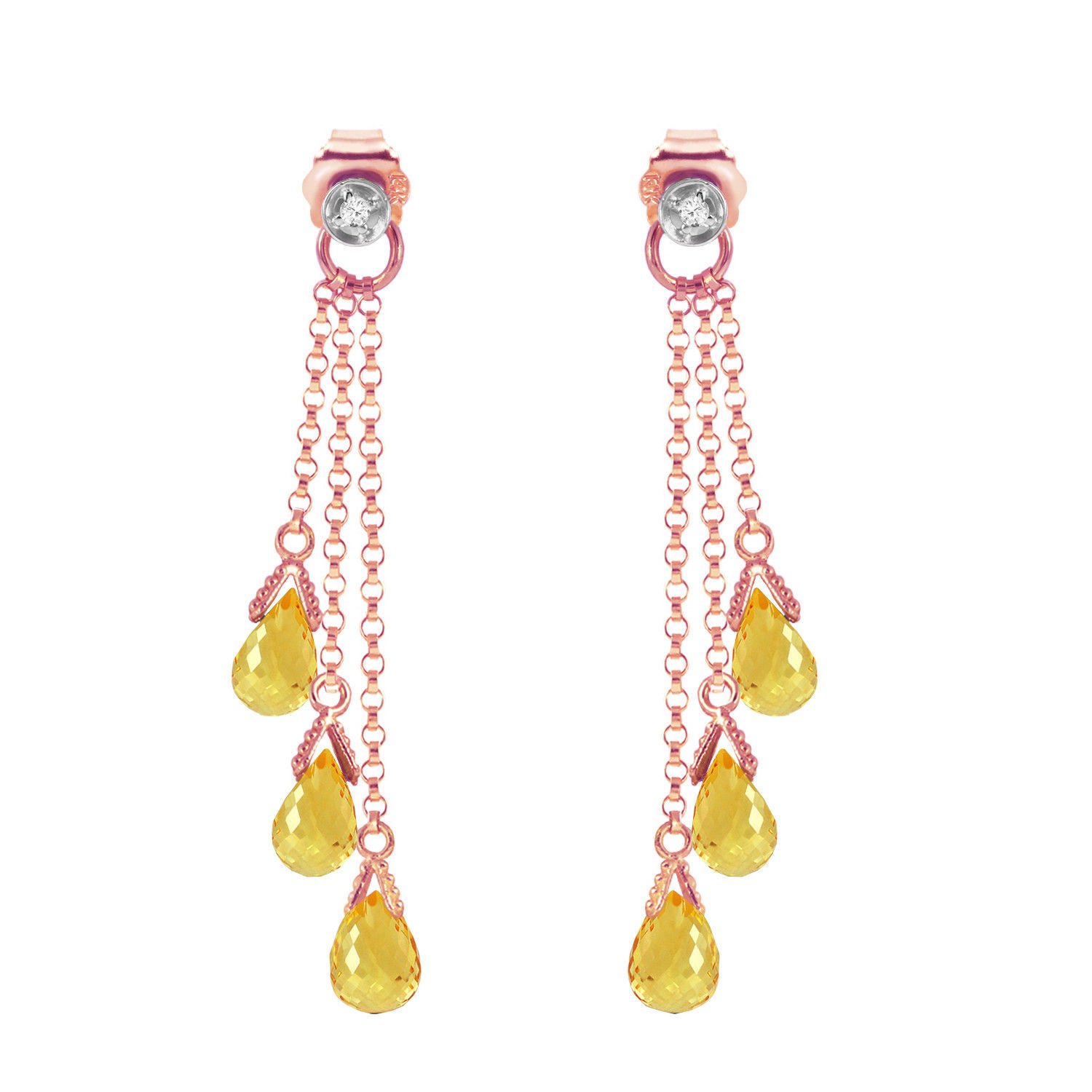 Primary image for 14K Solid Rose Gold Chandelier Earrings withDiamonds & Citrines
