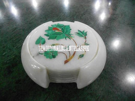 White Marble Tea Coaster Set Real Floral Art Inlay Malachite Mosaic Work Decor - $217.84