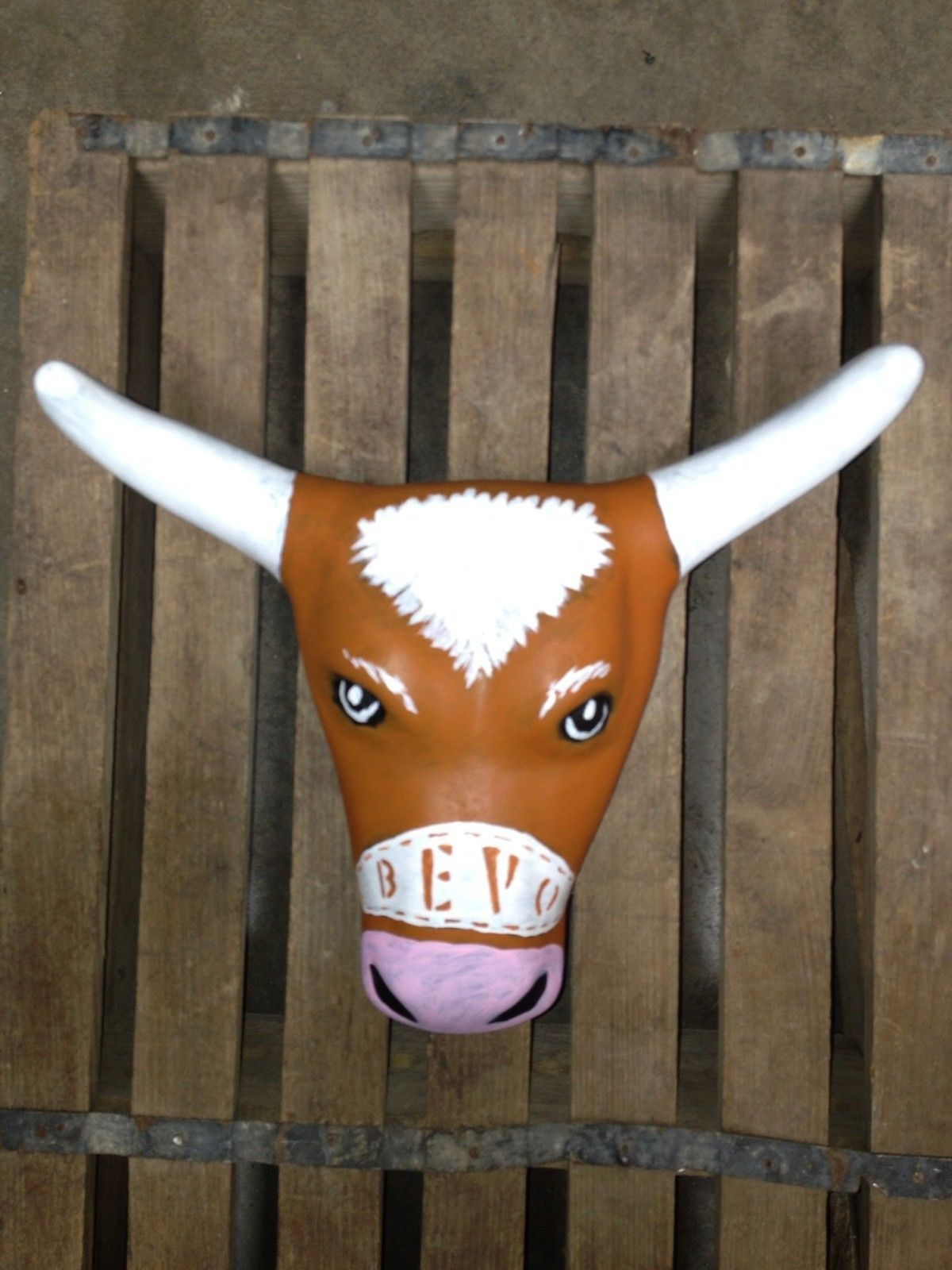UT texas Bevo Longhorn Bull Steerhead Roping Art Bar Man Cave Sign New Horns