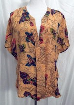 Pookie & Sebastian Silk Blouse Peach Butterfly Print V Neck Top size Small NEW - $48.48