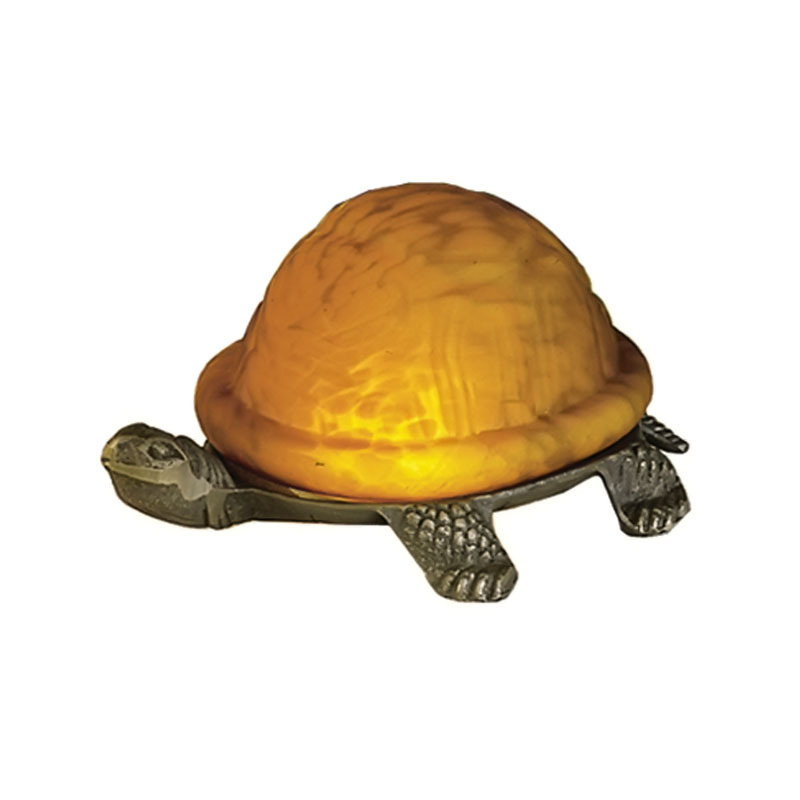 "Meyda Home Indoor Decorative 4""H Turtle Art Glass Accent Lamp 1235-18004"