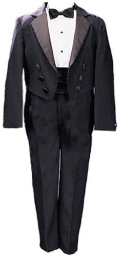 New Ring Bearer Boys Tuxedo Tail Suit Tux Set Black From Baby to Teen (18)