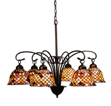 "Meyda Home Indoor Decorative 31""W Tiffany Fishscale 6 Lt Chandelier 1235... - $1,143.00"