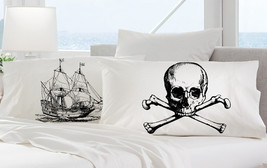 2 pillow cases black SHIP skull crossbones Nautical jack Ship's theme of the bon - $19.99
