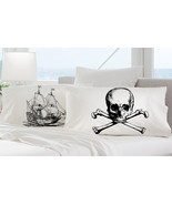 2 pillow cases black SHIP skull crossbones Naut... - $19.99
