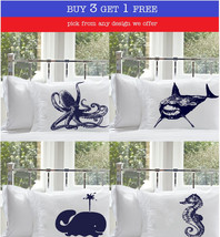 Buy 3 Get 1 Free / Nautical Pillowcases Pillow case Anchor Ship Whale Boat Wheel - $34.99