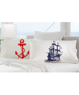 2 pillow cases red ANCHOR and navy SHIP skull c... - $19.99