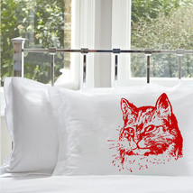 One (1) Red Retro CAT pillowcase pillow cover case kitten kitty feline lover lad - $11.99