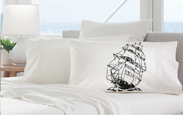 One (1) Black Nautical Sail Boat Ship Standard Pillowcase pillow case cover - $11.99