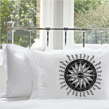 Two (2) Black Nautical Vintage Ship Compass Pillowcase Pillow case Astrolabe dec - $19.99