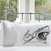 One (1) Black Shark Pillowcase cover Mouth teeth jaws tooth week bite nautical - $11.99