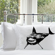 One (1) Black Great White Shark Standard Nautical Pillowcase pillow cove... - $11.99