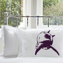 Two (2 for 20) Purple Blue Bottle Nose Dolphin White Nautical Pillowcase pillow  - $19.99