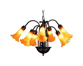 "Meyda Home Indoor Decorative 20""W Amber Pond Lily 7 Lt Chandelier - 1235... - $369.00"