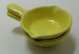 Vintage Our Own Import Yellow Pottery Frying Pans  Scrubby Holders Decor... - $12.00