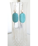 Oblong Howlite Earrings with Freshwater Pearl - $8.50
