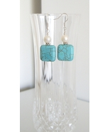 Square Howlite Earrings with Freshwater Pearl - $8.50