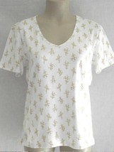 Liz Claiborne Women's Short Sleeved T Shirt S White Gold Print NEW - $12.86